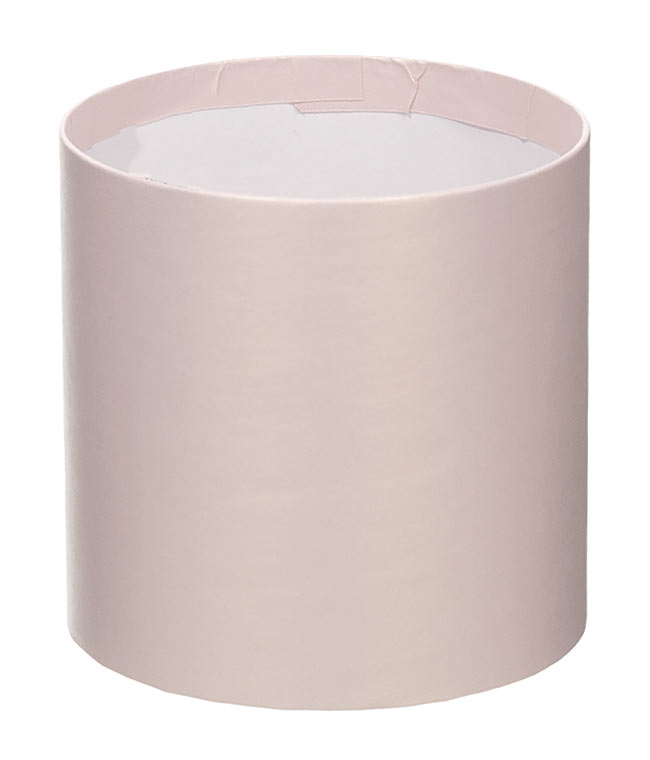 Коробка круглая для цветов пудровая перламутр из бумаги 100/100 без крышки
